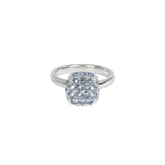 Pavé Cushion Ring - Blue Crystal/Rhodium Plated