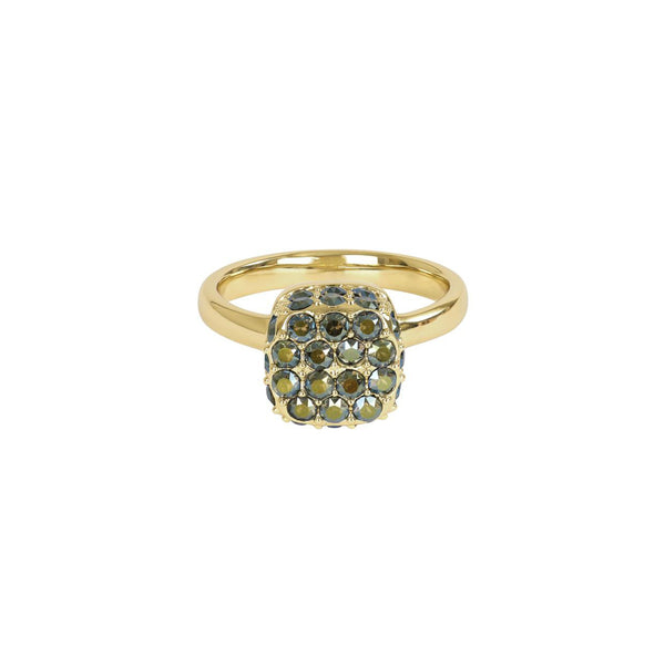 Pavé Cushion Ring - Green Crystal/Gold Plated