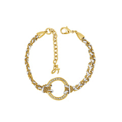Organic Circle Braided Bracelet - Crystal/Gold Plated