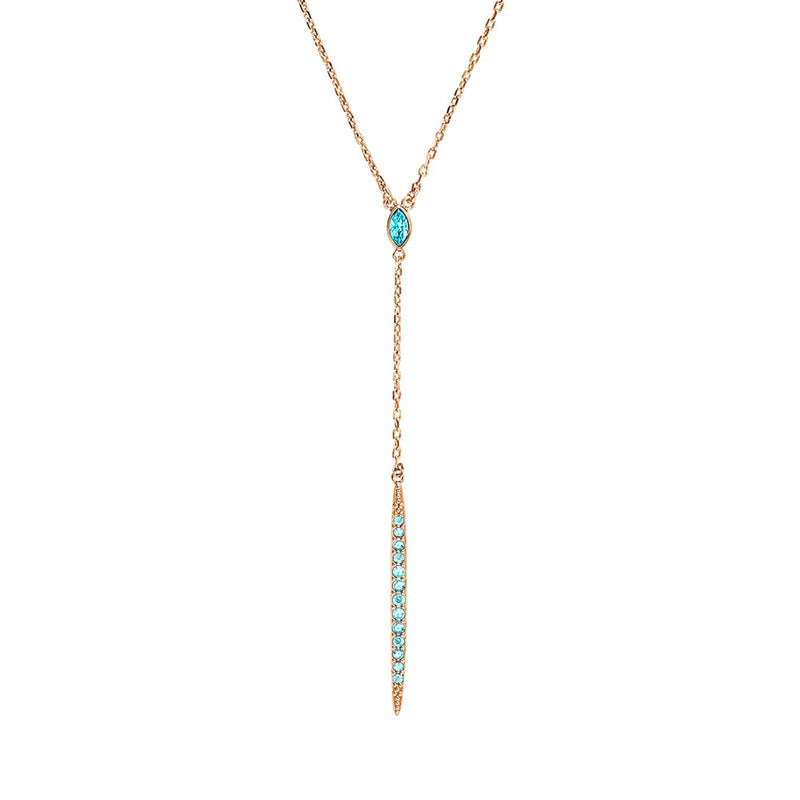 Pavé Bar Y Necklace - Indian Sapphire/Rose Gold Plated
