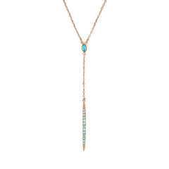 Pavé Bar Y Necklace - Indian Sapphire Light Turquoise/Rose Gold Plated