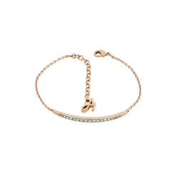 Curved Bar Bracelet - Indian Sapphire/Rose Gold Plated
