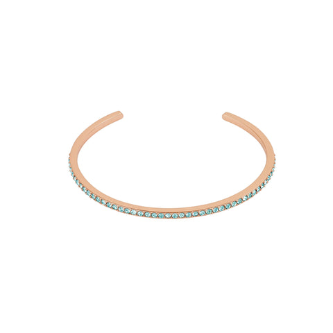 Skinny Pavé Bangle - Indian Sapphire/Rose Gold Plated