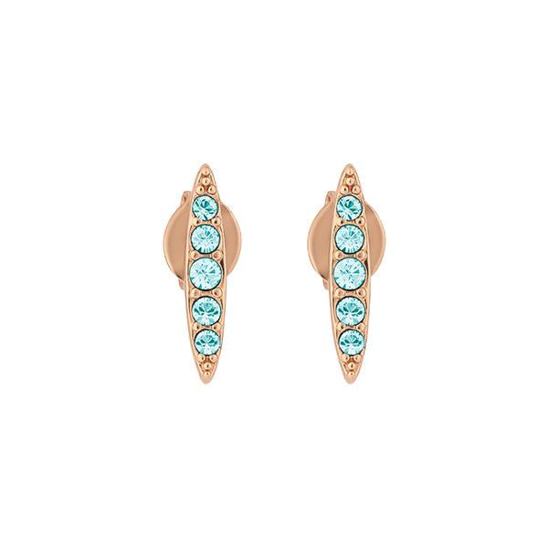 Pavé Navette Stud Earrings - Indian Sapphire/Rose Gold Plated