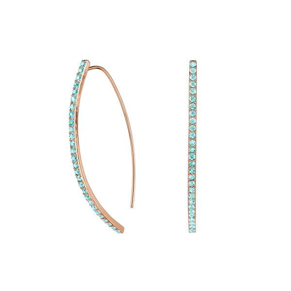 Pavé Arc Earring - Indian Sapphire/Rose Gold Plated