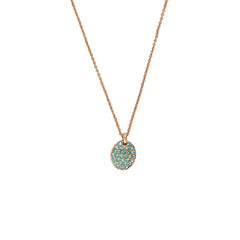 Pavé Oval Necklace - Indian Sapphire/Rose Gold Plated