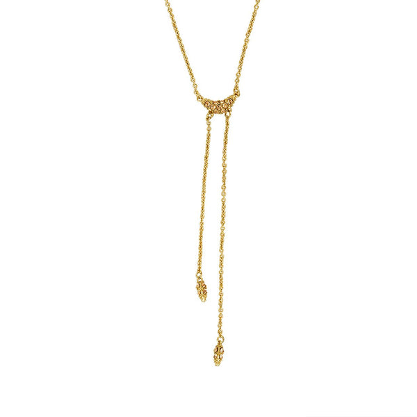 Pavé Swoop Y Necklace - Light Colorado Topaz/Gold Plated