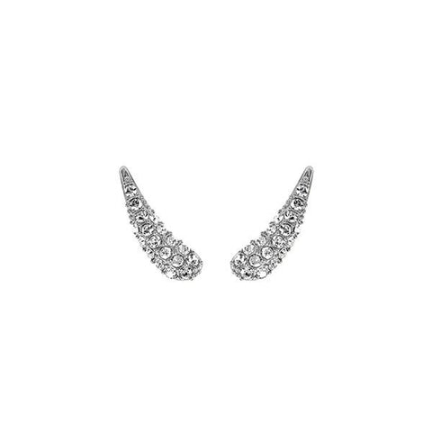 Pavé Swoop Earring Crawler - Crystal/Rhodium Plated