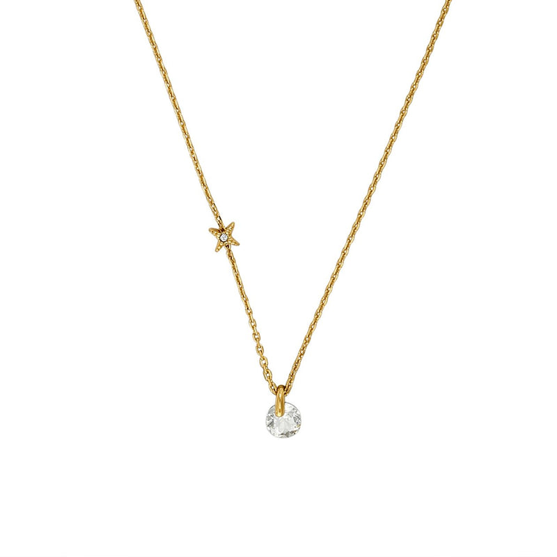 Simple Round CZ Necklace - Crystal/Gold Plated