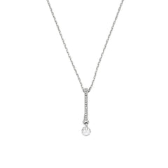 Linear Pave & CZ Necklace - Crystal/Rhodium Plated