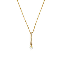 Linear Pavé & CZ Necklace - Crystal/Gold Plated