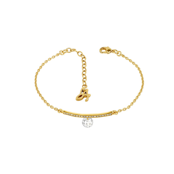 Linear Pavé & CZ Bracelet - Crystal/Gold Plated