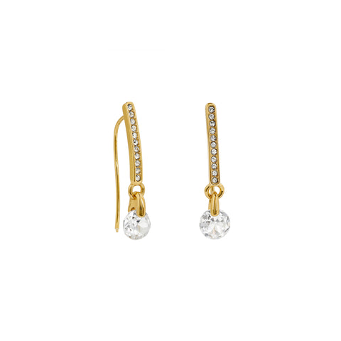Linear Pavé & CZ French Wire Earring - Crystal/Gold Plated