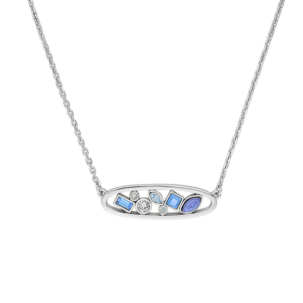 Mixed Crystal Oval Necklace - Mixed Blue Crystal/Rhodium Plated
