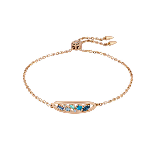 Mixed Crystal Oval Slide Bracelet - Mixed Blue Crystal/Rose Gold Plated