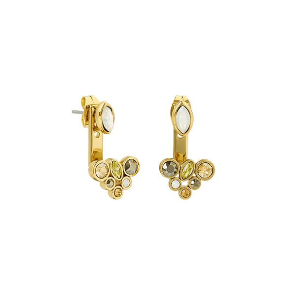 Mixed Crystal Earring Jacket - Mixed Gold Crystal/Gold Plated