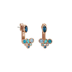 Mixed Crystal Earring Jacket - Mixed Blue Crystal/Rose Gold Plated