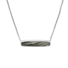 Resin Soft Bar Necklace - Crystal/Rhodium Plated