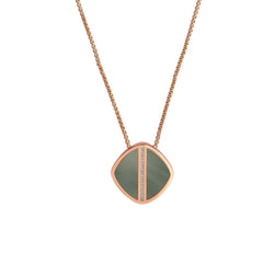 Resin Soft Square Long Necklace - Crystal/Rose Gold Plated