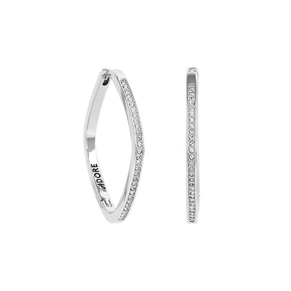 Soft Square Hoops - Crystal/Rhodium Plated