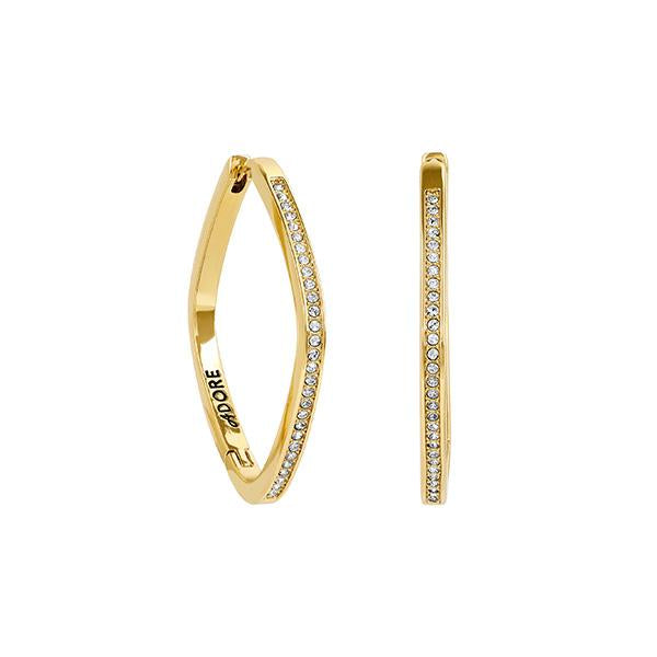 Soft Square Hoops - Crystal/Gold Plated