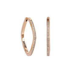 Soft Square Hoops - Crystal/Rose Gold Plated