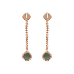 Resin Soft Square Drop Earring - Crystal/Rose Gold Plated