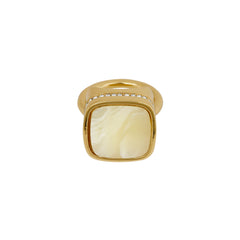 Resin Soft Square Ring - Crystal/Gold Plated