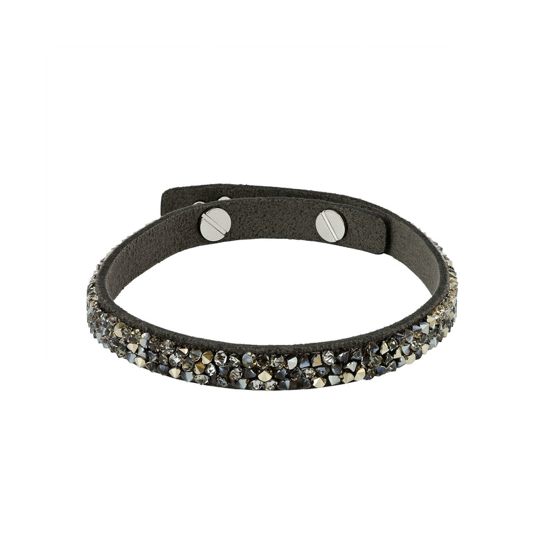 Skinny Fine Rock Bracelet - Crystal Metallic Light Gold/Rhodium Plated