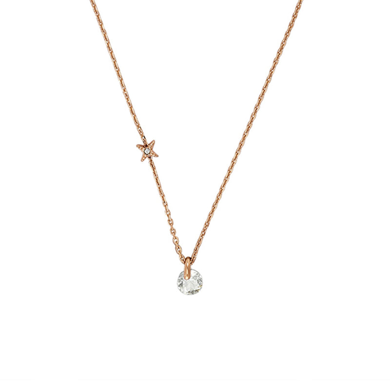 Simple Round CZ Necklace - Crystal/Rose Gold Plated