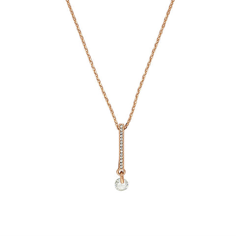 Linear Pavé & CZ Necklace - Crystal/Rose Gold Plated