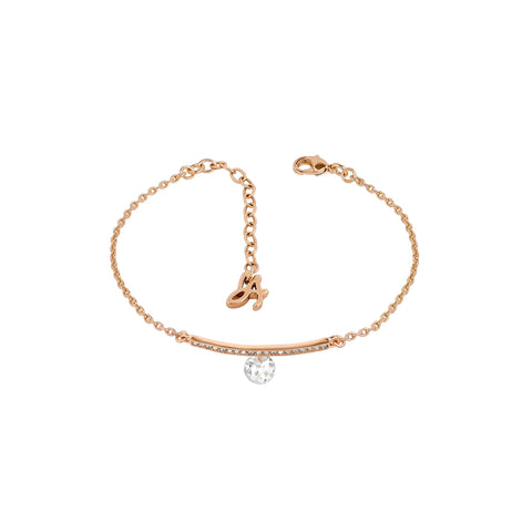 Linear Pavé & CZ Bracelet - Crystal/Rose Gold Plated