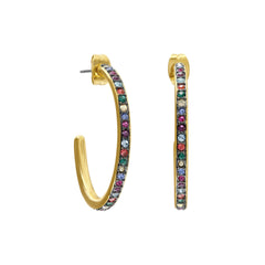 Organic Circle Classic Hoop Earrings- Crystal/Gold Plated