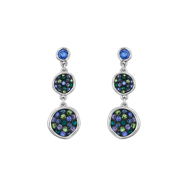 Organic Circle Drop Earrings- Crystal/Rhodium Plated