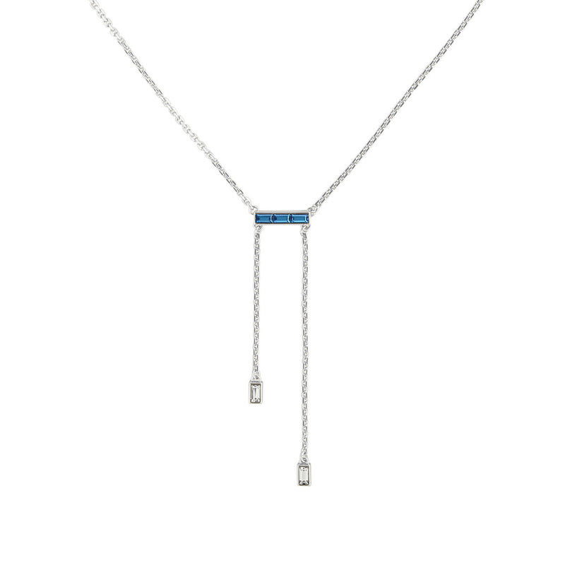Baguette Bar Y Necklace- Crystal/Rhodium Plated