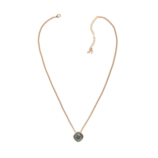 Soft Square Stone Cushion Necklace- Crystal/Rose Gold Plated