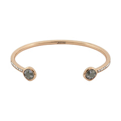 Skinny Pave/Soft Square Stone Bracelet- Crystal/Rose Gold Plated