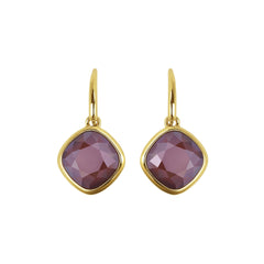 Soft Square Stone French Wire Earring - Crystal/Gold Plated