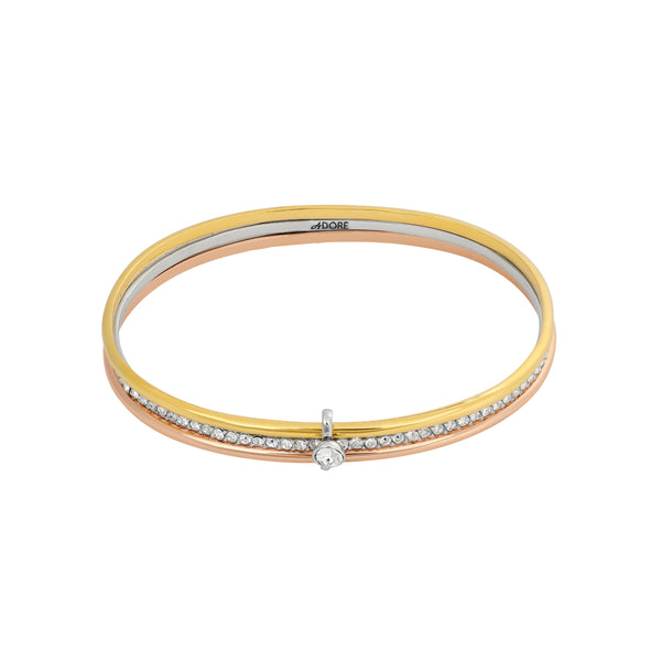 Interlocking Ring Bangle Trio - Crystal/Rhodium/Gold/Rose Gold Plated