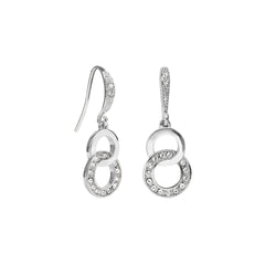 Interlocking Ring French Wire Earrings - Crystal/Rhodium Plated