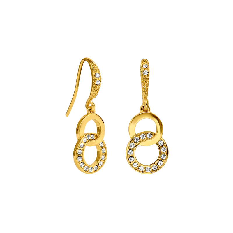 Interlocking Ring French Wire Earrings - Crystal/Gold Plated