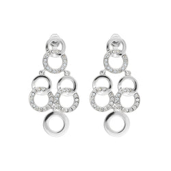 Interlocking Ring Chandelier Earrings - Crystal/Rhodium Plated