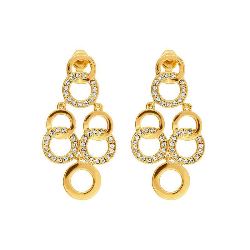 Interlocking Ring Chandelier Earrings- Crystal/Gold Plated