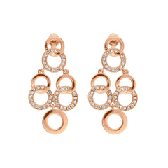 Interlocking Ring Chandelier Earring- Crystal/Rose Gold Plated