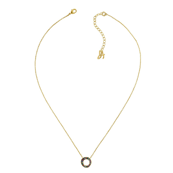 Mini Organic Circle Necklace - Crystal/Gold Plated