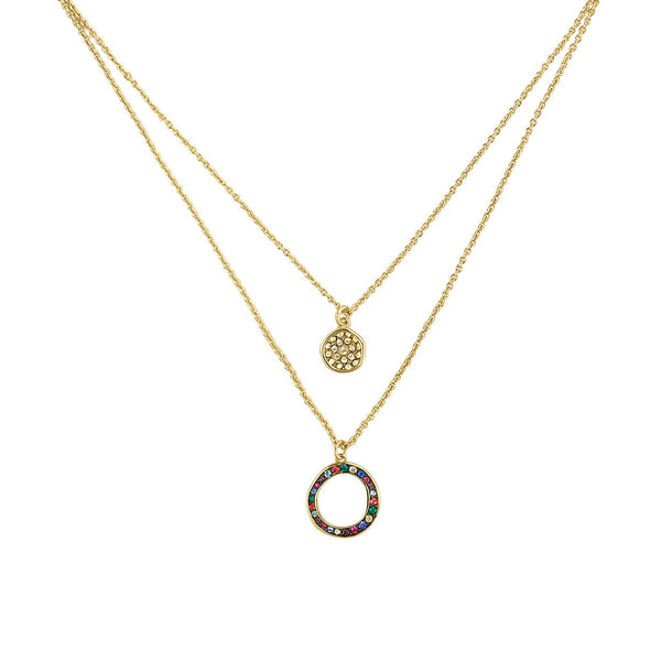 Organic Circle 2 Row Necklace - Crystal/Gold Plated