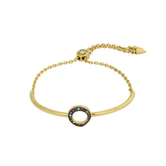 Organic Circle Slide Bracelet - Crystal/Gold Plated