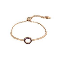 Organic Circle Slide Bracelet - Crystal/Rose Gold Plated