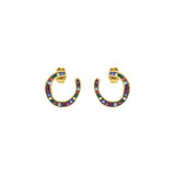 Organic Circle Hoop Earring - Crystal/Gold Plated