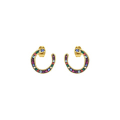 Organic Circle Hoop Earrings - Crystal/Gold Plated